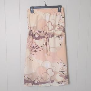 Anthropologie Lux Silk Mixed Print Strapless Dress
